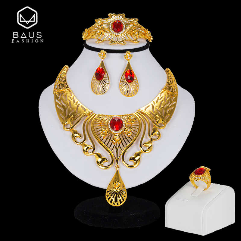 BAUS Bridal jewelry sets 2018 Exquisite African Beads Jewelry Set Dubai Gold Color Jewelry Set Nigerian Wedding big necklace set