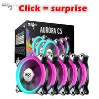 Aigo C5 12V Rainbow Lights Colorful RGB Adjustable Colour Fan 120mm LED PC Computer Cooling Cooler