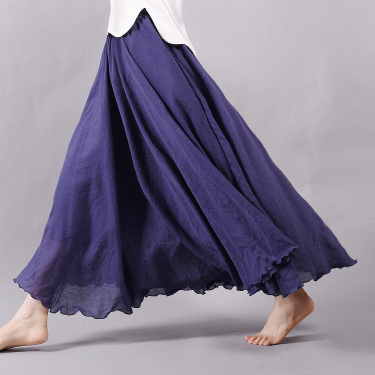 Sherhure 19 Women Linen Cotton Long Skirts Elastic Waist Pleated Maxi Skirts Beach Boho Vintage Summer Skirts Faldas Saia 18
