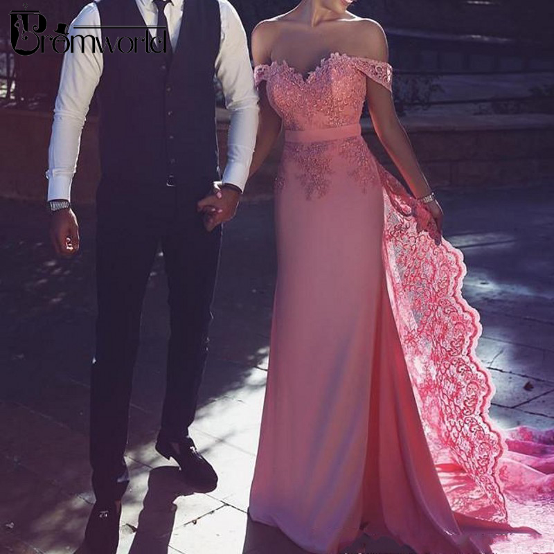 Elegant Pink Muslim Evening Dresses 2019 Sweetheart Off Shoulder Lace Chiffon Islamic Dubai Saudi Arabic Long Evening Gowns