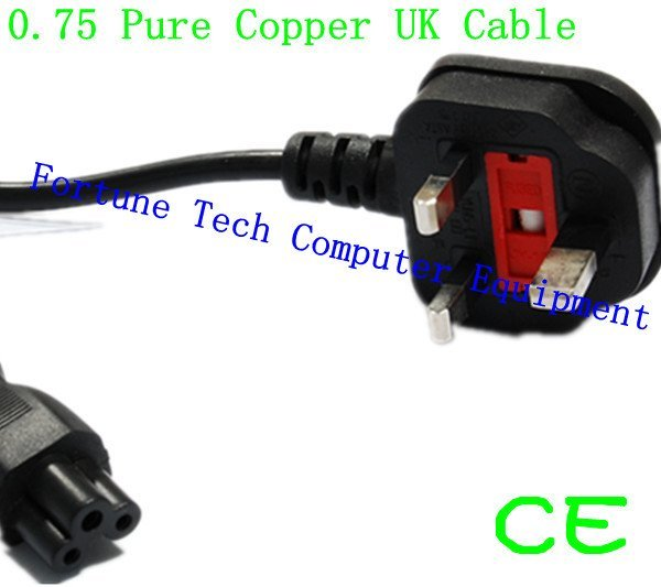 DHL Free Shipping Factory Price Pure Copper UK Power Cord With Fuse Three Prong CE 220V 50pcs/lot