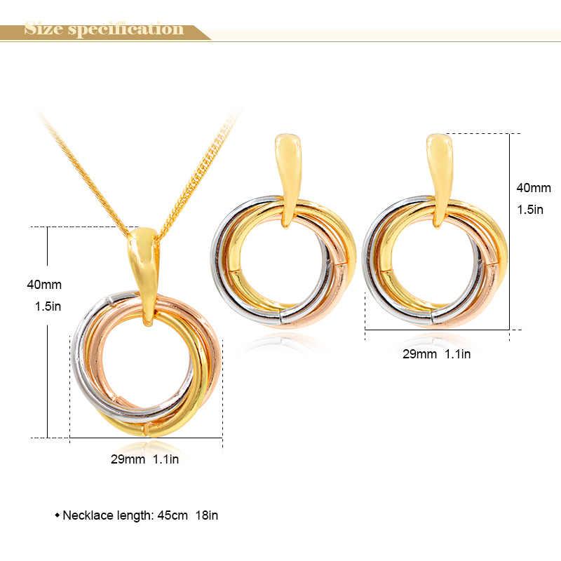 Sunny Schmuck Mode Schmuck 2019 Triple Farben Runde Kreis Dubai Hohe Qualität Schmuck Set Für Frauen Ohrringe Anhänger Halskette