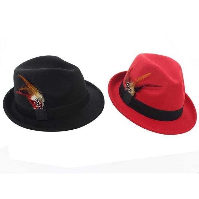 547c45e53 Autumn Winter Women Men Wool Felt Jazz Cap Hat Trend Lady Fedora Trilby  Hats with Feather European US Female Feltro Hat GH-252