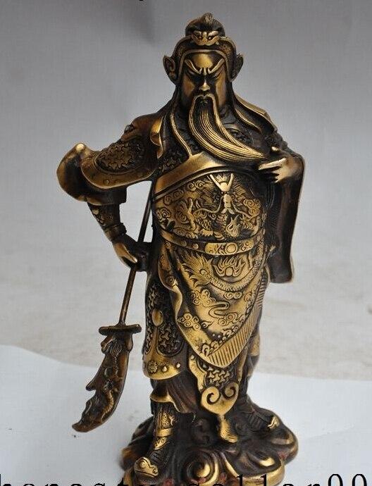 free shipping 9Chinese Bronze Warrior Dragon Head Sword Stand Guan gong GuanYu God Statue tibet buddhism copper bronze green tara guan yin boddhisattva buddha god statue