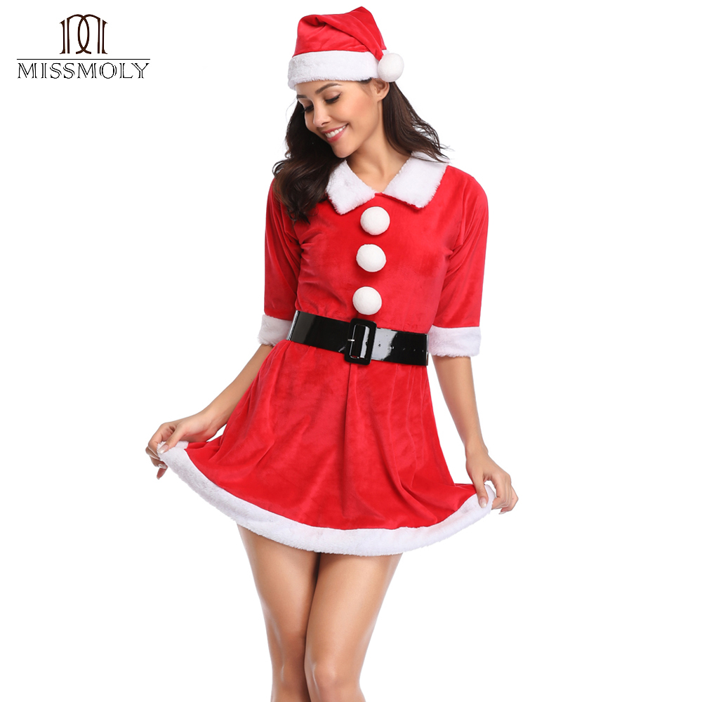 Women Red Christmas Party Dress With Hat Xmas Santa Valentines Lace up   Corset   Top Sexy Lingeries   Bustiers     Corsets   Dresses