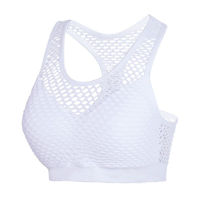 BINAND Sexy Hollow Out High Impact Sports Bra Mesh Back Training Yoga Shirt Gym Fitness Running Women Crop top Sport Bra mesh yoke crop iridescent tee