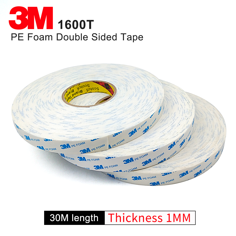 100% Original 3M 1600T Double Coated Polyethylene Foam tape /Double Sided  Tape white 1MM thickness ,we can die cut to any size