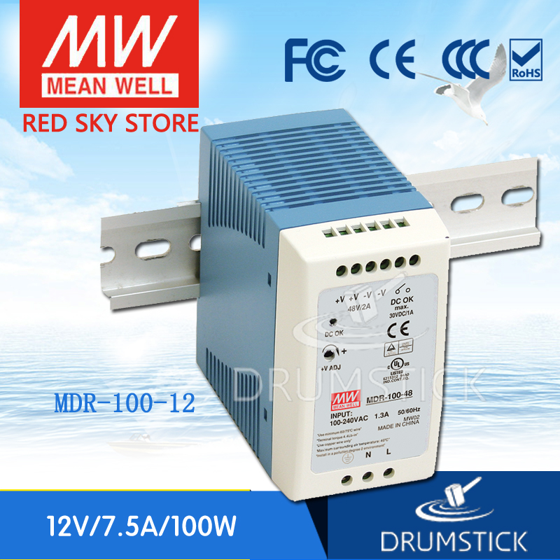 MEAN WELL original MDR-100-12 12V 7.5A meanwell MDR-100 12V 90W Industrial DIN Rail Power Supply mean well original mdr 100 12 12v 7 5a meanwell mdr 100 12v 90w single output industrial din rail power supply