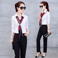 Spring Autumn Fashion Women Sets Elegant Women Suits Two Piece Sets Chiffon Top and Wid Leg Pants Office Lady Casual Sets C566