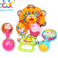6PCS/set HUILE TOYS 3102 Baby Toys Handbell Musical Tambourine Toys Cartoon Sand Egg Maracas Drum Bell Rattle Toys 0-12 months