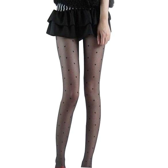 Sexy Women Long Stockings Lovely Super Slim Leggings Heart Pattern Pantyhose for Women Girls