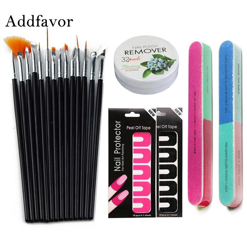 Addfavor Nail Polish Varnish Protector Holder 15pc Painting Brushes Nail Dotting Pen Nail Art Manicure Tools File Buffer Set Kit