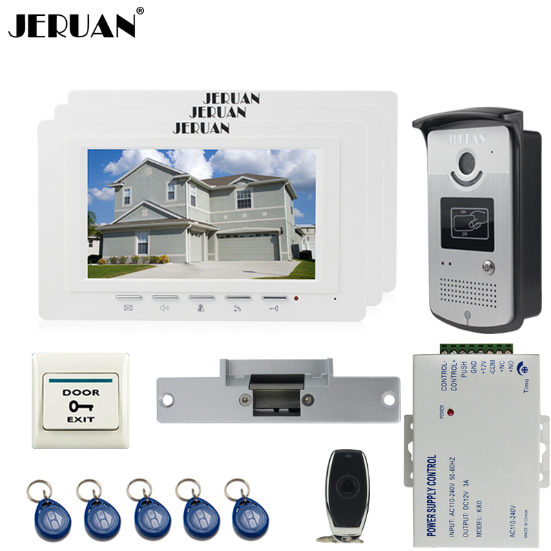 JERUAN luxury 7`` LCD  Video Door Phone three 700TVT Camera access Control System+Cathode lock+Remote control Unlock jeruan black 8 lcd video door phone system 700tvt camera access control system cathode lock remote control 8gb card