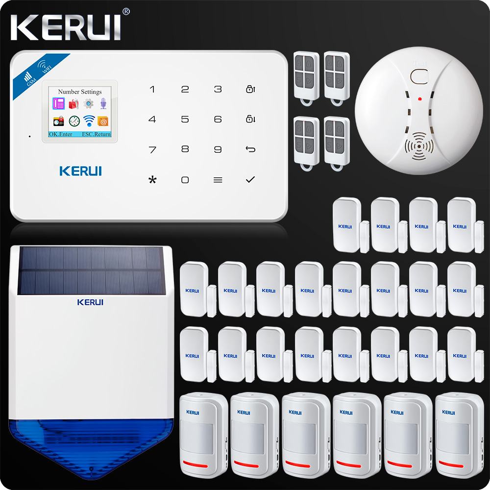 KERUI W18 WIFI GSM SMS Home Burglar Security Alarm System Curtain Motion Sensor  Wireless Solar Siren Wireless Smoke Sensor