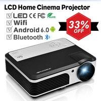 Smart Android Wi Fi ЖК Проектор Bluetooth дома Театр мобильный проектор Full HD видео Projeksiyon для смартфонов ТВ Ноутбуки ПК