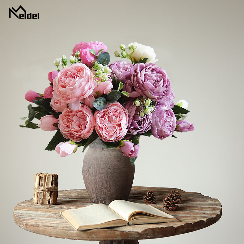 wedding bouquet silk peonies flowers  (7)