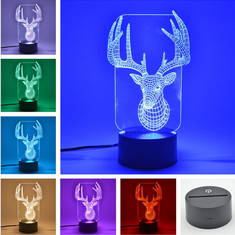 AUCD 7 Colors Acrylic Lasere Engraving 3D Vision LED Touch Table Lamp Christmas Deer Kid Gift Novelty USB Desk Night Light FS147