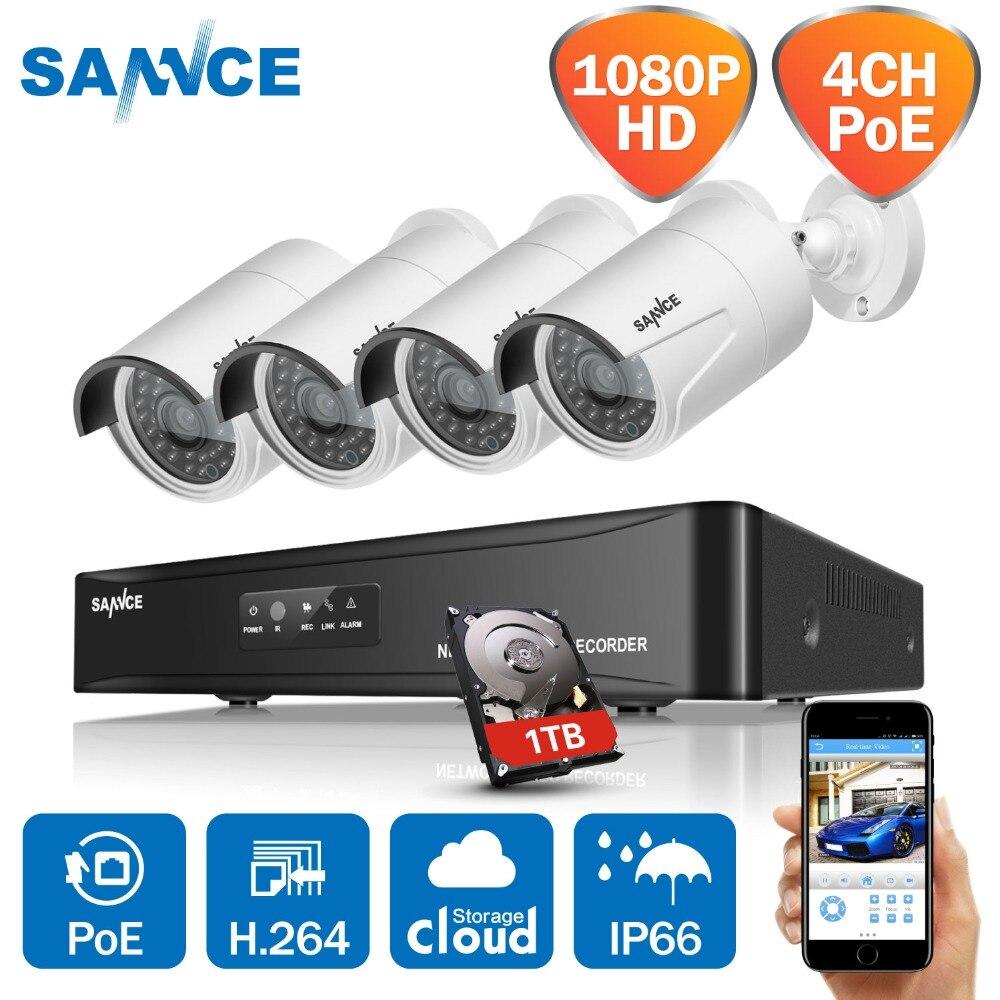 SANNCE 4CH 1080P HD SPŒ NVR Sistema de CCTV Vídeo 4PCS 2MP POE IP Câmera Ao Ar Livre À Prova de Intempéries de Segurança Em Casa kits de vigilância