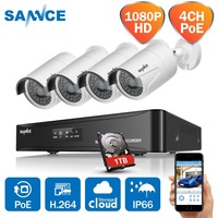 SANNCE 4CH HD 1080P SPOE CCTV Video NVR System 4PCS 2MP POE IP Camera Outdoor Weatherproof Home Security Surveillance Kits