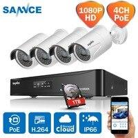 SANNCE PoE Комплект CCTV NVR 4CH 1080 P POE CCTV системы HD 2.0MP видеокамера охранной системы Инфракрасный Открытый 1080 наблюдения наборы