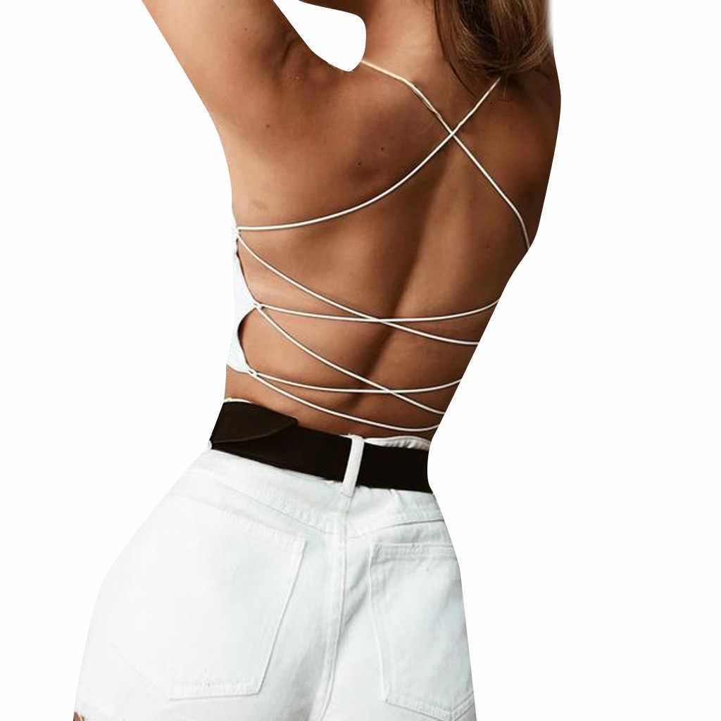 2019 패션 여름 시즌 여성 캐주얼 솔리드 민소매 고삐 붕대 탱크 자르기 탑스 backless 티셔츠 dropshipping fe25