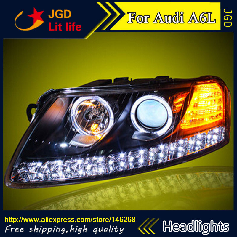 Free shipping ! Car styling LED HID Rio LED headlights Head Lamp case for Audi A6L 2005-2008 Bi-Xenon Lens low beam