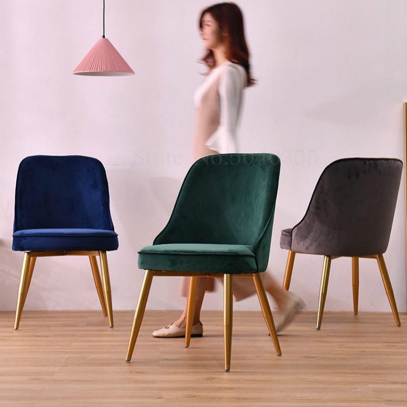 Nordic Wrought Iron Light Luxury Dining Chair Home Restaurant Chair Minimalist Backrest Lounge Chair Creative Fashion Desk Chair