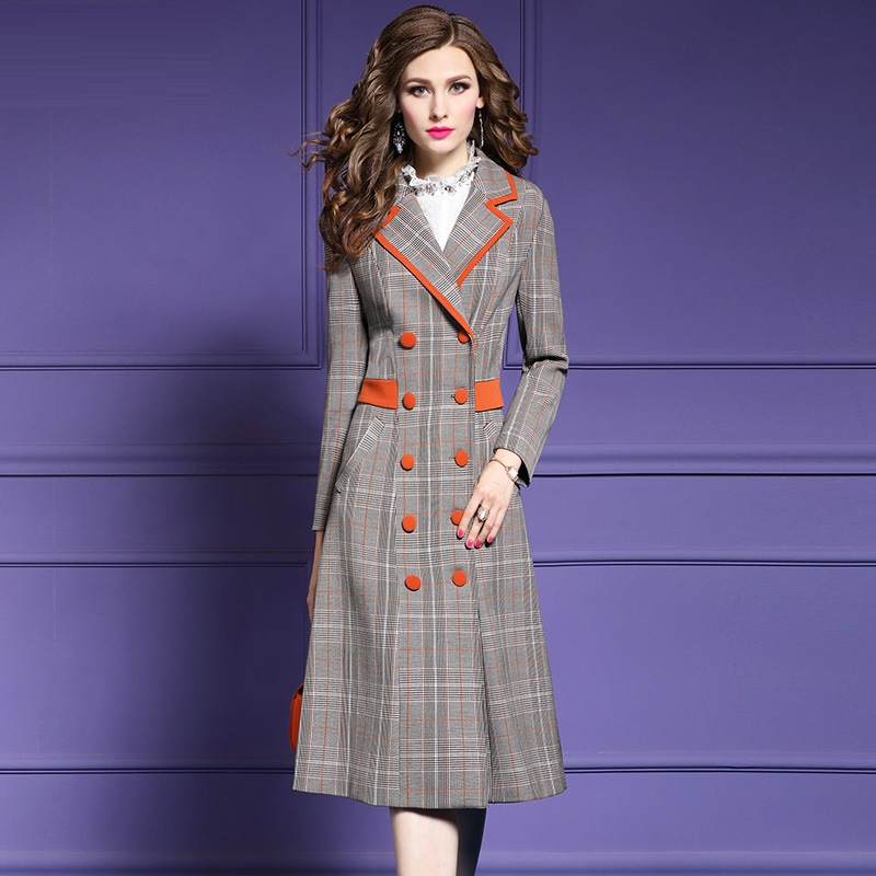 Long sleeves Streetwear coats 3xl 2018 new High Quality spring autumn Plaid coat Plus Size Women