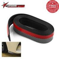 Free shipping Black Soft Carbon fiber Rubber Car bumper Strip 50mm Width 2.5m length Exterior Front Bumper Lip Car Styling Kit