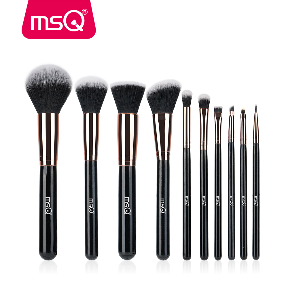 MSQ 10PCS Rose Gold Makeup Brushes for Foundation Blending Blush Eyeliner Powder Cosmetics Soft Synthetic Hair Make Up Brush Kit msq 8pcs makeup brushes set rose gold foundation powder eye make up brushes kit soft goat