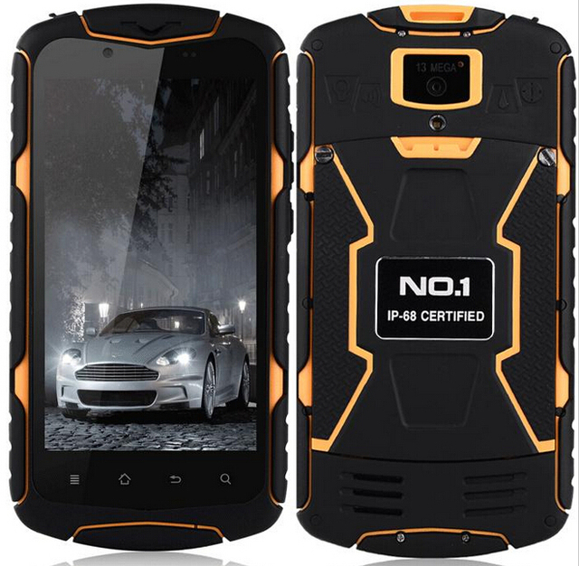 Original NO.1 X-MEN X1 WithMTK6582 Quad Core Waterproof IP68 Dustproof 1.3GHz 1GB 8GB 13.0MP+5.0MP  5.0'' HD Smart Phone