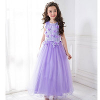 2017 Top Quality Princess Dress For Little Girl Long Dresses Mesh Ceremonies Wedding Gown Dress Flower