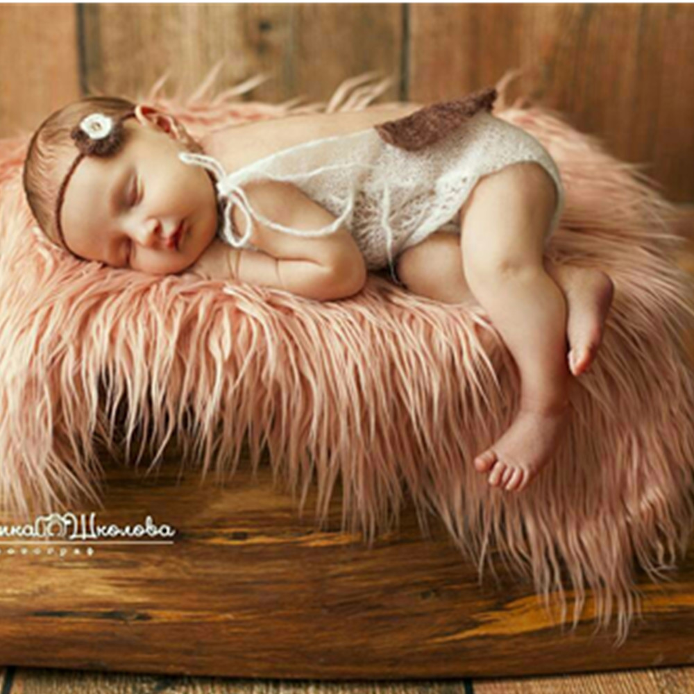 Faux Fur 75 50cm Newborn Size Blanket Backdrop Newborn Photography Props Basket Stuffer