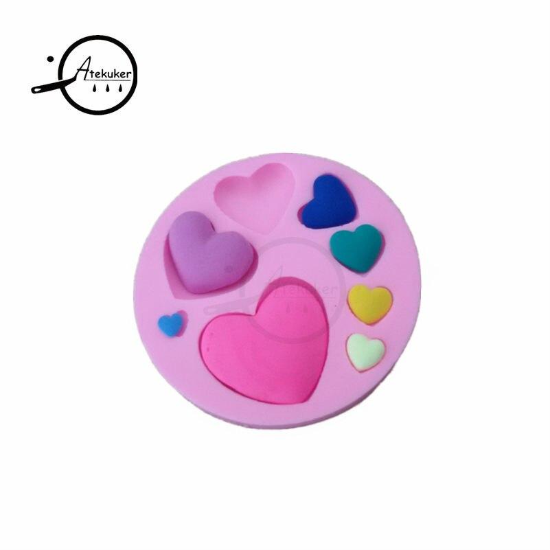 Atekuker в форме сердца 3D силиконовая форма для помадки инструменты для украшения торта Формы для шоколадная мастика форма для полимерной глины