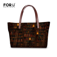 FORUDESIGNS Vintage Library Book Shelf Printing Women Handbags Tote Shoulder Bag Woman Designer Large Bolsa Feminina Sac a Main