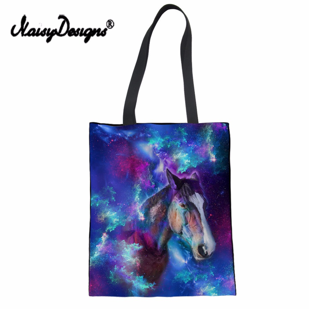 Noisydesigns Canvas Large Eco-Friendly Cotton Shopping Bags Fodable Revsable Grocery Bags Tote Bags Blank Girl Handbag