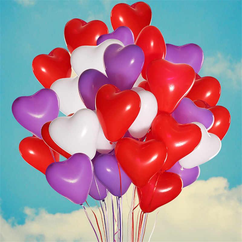 100 шт 12 дюймов 2,2 г черные белые латексные шары, гелий воздушные шары в форме сердца надувные свадебные воздушные шарики украшения для дня рождения детей