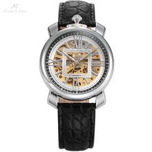 KS Brand Skeleton Automatic Mechanical Watches Cabochon Coins Shape Crown Black Leather Band Male Men Self