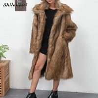 Plus Size Winter Artificial Fur Long Coat 2018 Women Long Sleeve Jacket Coat Hairy Warm Loose Faux Fur Coat Outerwear White Grey