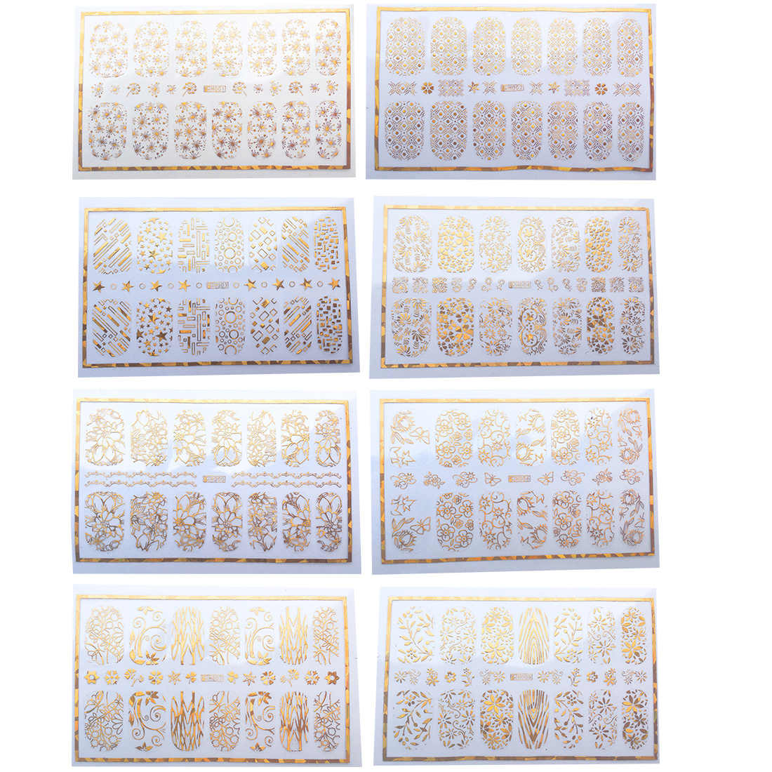 Art des ongles enveloppes 3D couverture complète vigne étoile géométrique paillettes 1 feuille sonwflocon doigt décalcomanies or ongles autocollant métal fleur papier