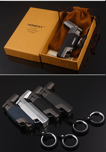 Image 3 - Tặng Hộp Thép Không Gỉ Butan Phản Lực Bật Lửa Hộp Quẹt Turbo Bật Lửa Lửa Chống Gió Xịt Kim Loại Ống Cigar Lighter 1300 C không Khí