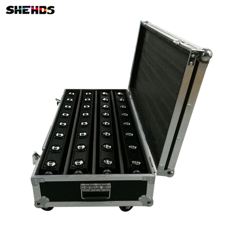 Flight Case with 4pcs/lot LED Bar Beam Moving Head Light RGBW 8x12W Perfect for Mobile DJ, Party, nightclub Fast Shipping