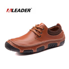 Hand Made Casual Men Leather Shoes New 2015 Spring Autumn Flat Men Shoes Lace Up Loafers Shoes Oxfords for Men Zapatos Hombre
