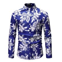 Loldeal Men's Long Sleeve Floral Casual Shirt Flower Long Sleeve Casual Button Down Shirt