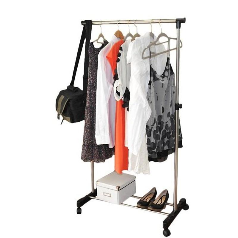 Single-Bar Rail Hanging Clothes Rack Stand Adjustable Telescopic Rolling Clothing Rack Garment Rack Hanger Wheeled - US Stock