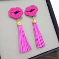 2016 Promotion Beautiful sweet hot pink Lips  Stud Earrings Retro Fashion tassels Earring For Women