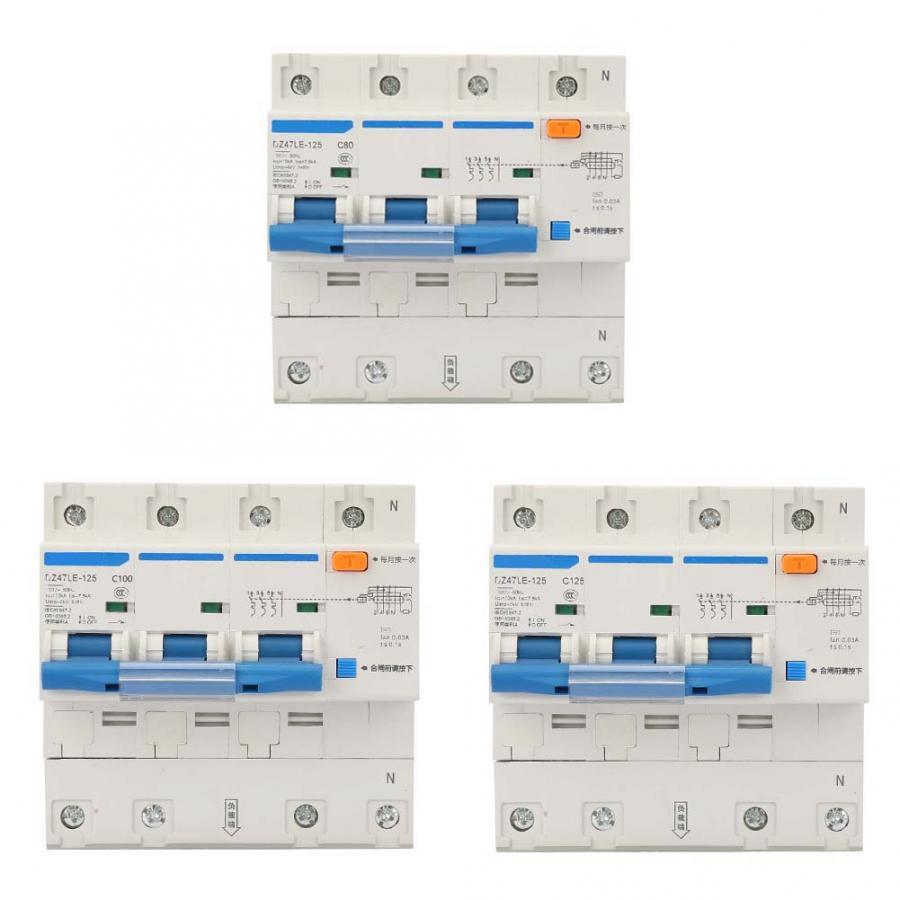 AC 230 V 80/100/125A interrupteur de Protection contre les fuites DZ47LE-125 3 P + N disjoncteur de courant dc disjoncteur