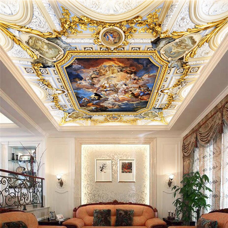 Wellyu Custom Wallpaper 3D Mural European Angel Oil Painting High - End Living Room Hotel Ceiling Wallpaper Papel De Parede 3d