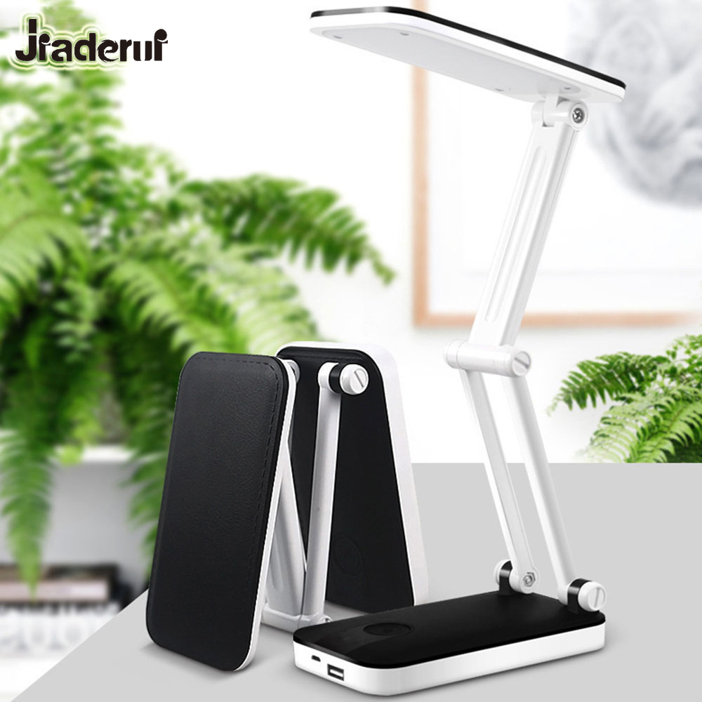 Jiaderui Portable Power Bank LED Foldable Desk Table Lamp Adjustable Recharge Reading Dimmer Light Office Kids Reading Lighting