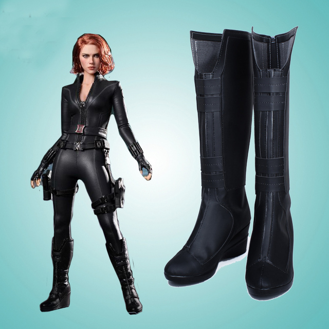 2effd87efcd107 Custom Made Cosplaydiy The Avengers Black Widow Cosplay Boots Shoes Movie  Widow Cosplay Accessories L0713